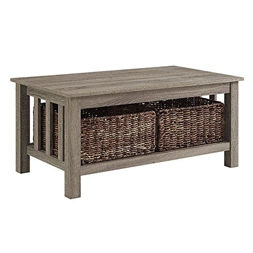 WE Furniture 40 Wood Storage Coffee Table With Totes Driftwood 0 0