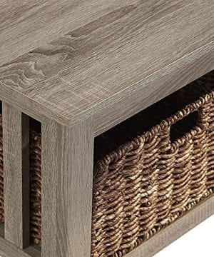 WE Furniture 40 Wood Storage Coffee Table With Totes Driftwood 0 1 300x360