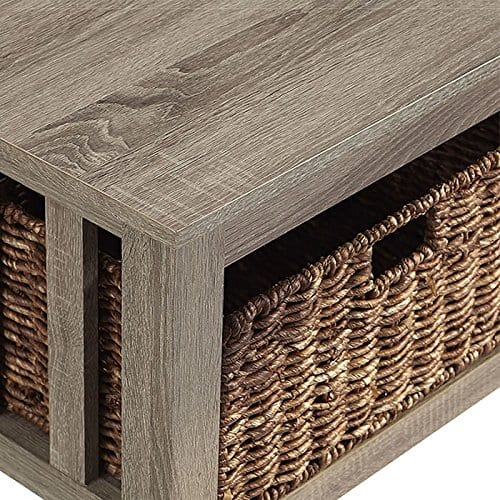 WE Furniture 40 Wood Storage Coffee Table With Totes Driftwood 0 1