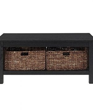WE Furniture 40 Wood Storage Coffee Table With Totes Driftwood 0 2 300x360