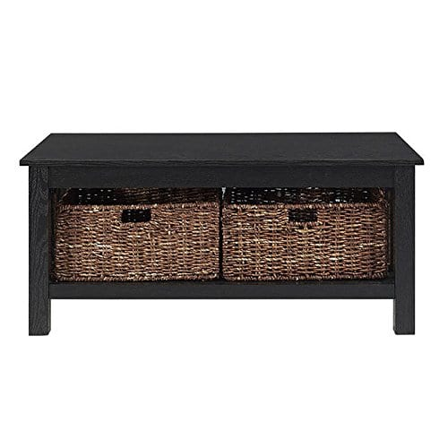 WE Furniture 40 Wood Storage Coffee Table With Totes Driftwood 0 2