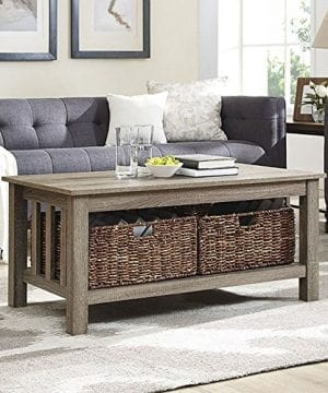 WE Furniture 40 Wood Storage Coffee Table With Totes Driftwood 0 300x360