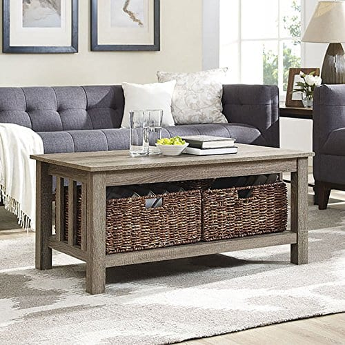 WE Furniture 40 Wood Storage Coffee Table With Totes Driftwood 0