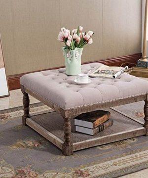 Warehouse Of Tiffany Cairona 30 Shelved Ottoman In Light Gray Tufted Fabric 0 300x360