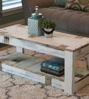 White Farmhouse Coffee Table With Shelf 0 300x333