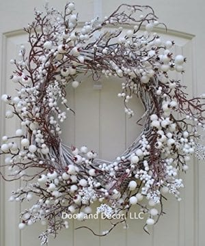 Winter And Christmas Front Door Wreath With White Berries On Grapevine Base 20 22 Diameter 0 0 300x360