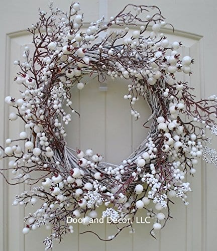Winter And Christmas Front Door Wreath With White Berries On Grapevine Base 20 22 Diameter 0 0