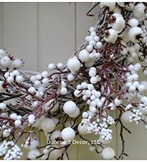 Winter And Christmas Front Door Wreath With White Berries On Grapevine Base 20 22 Diameter 0 1 300x332