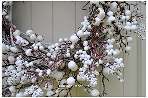 Winter And Christmas Front Door Wreath With White Berries On Grapevine Base 20 22 Diameter 0 1