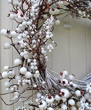 Winter And Christmas Front Door Wreath With White Berries On Grapevine Base 20 22 Diameter 0 2 300x360