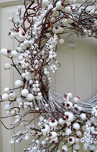 Winter And Christmas Front Door Wreath With White Berries On Grapevine Base 20 22 Diameter 0 2