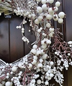 Winter And Christmas Front Door Wreath With White Berries On Grapevine Base 20 22 Diameter 0 3 300x360