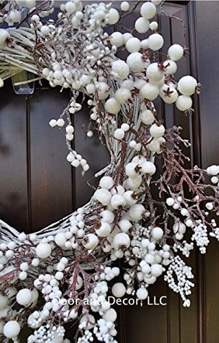 Winter And Christmas Front Door Wreath With White Berries On Grapevine Base 20 22 Diameter 0 3