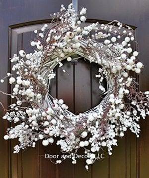 Winter And Christmas Front Door Wreath With White Berries On Grapevine Base 20 22 Diameter 0 300x360