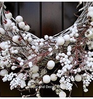 Winter And Christmas Front Door Wreath With White Berries On Grapevine Base 20 22 Diameter 0 4 300x318