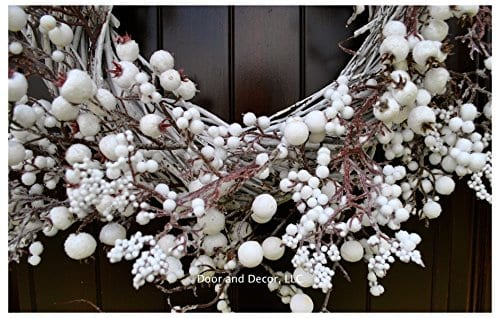 Winter And Christmas Front Door Wreath With White Berries On Grapevine Base 20 22 Diameter 0 4