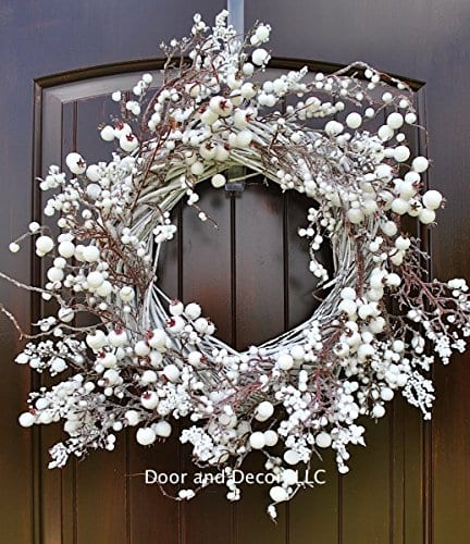 Winter And Christmas Front Door Wreath With White Berries On Grapevine Base 20 22 Diameter 0