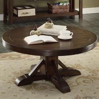 gettysburg round farmhouse coffee table