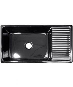 36 In Quatro Alcove Reversible Fireclay Farmhouse Kitchen Sink Black 0 300x360