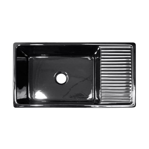 36 In Quatro Alcove Reversible Fireclay Farmhouse Kitchen Sink Black 0