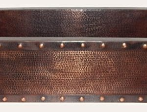 Apron Front Farmhouse Kitchen Mexican Handhammered Copper Sink Rivets Single Bowl 0 300x229