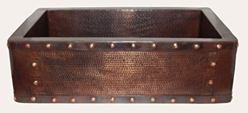Apron Front Farmhouse Kitchen Mexican Handhammered Copper Sink Rivets Single Bowl 0