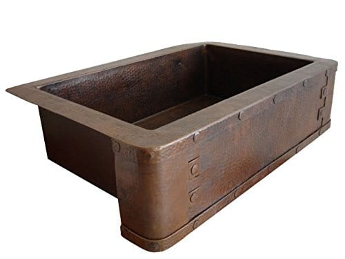 Ariellina Farmhouse 14 Gauge Hammered Copper Kitchen Sink 0 0