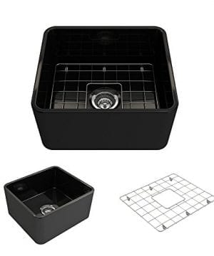 Classico Farmhouse Apron Front Fireclay 20 In Single Bowl Kitchen Sink With Protective Bottom Grid And Strainer In Black 0 1 300x360