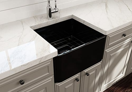 Classico Farmhouse Apron Front Fireclay 20 In Single Bowl Kitchen Sink With Protective Bottom Grid And Strainer In Black 0