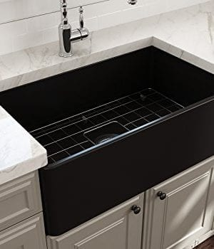 Classico Farmhouse Apron Front Fireclay 30 In Single Bowl Kitchen Sink With Protective Bottom Grid And Strainer In MBlack 0 2 300x350