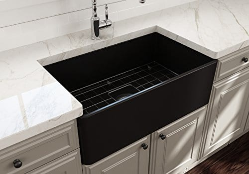 Classico Farmhouse Apron Front Fireclay 30 In Single Bowl Kitchen Sink With Protective Bottom Grid And Strainer In MBlack 0 2