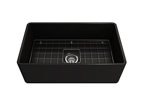 Classico Farmhouse Apron Front Fireclay 30 In Single Bowl Kitchen Sink With Protective Bottom Grid And Strainer In MBlack 0 3