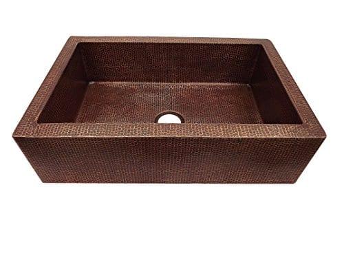 Copper Farmhouse Kitchen Sink 33x22x9 Aged Copper 0 1