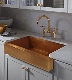 The Copper Design Single Well Farmhouse Sink Apron Front Farmhouse Kitchen Sink 33 X22 X9 Aged Copper Farmhouse Goals