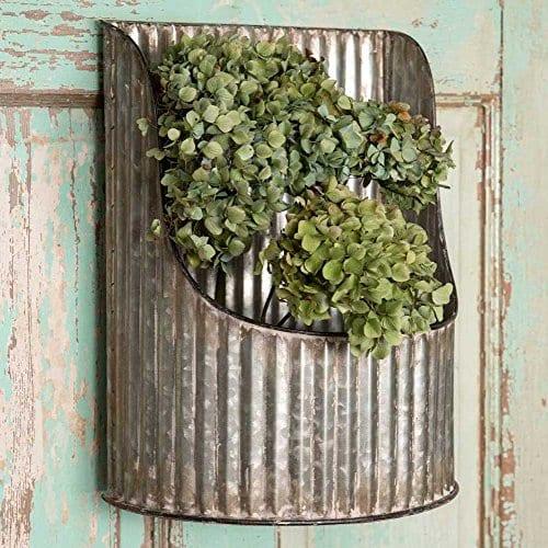 Corrugated Metal Half Round Decorative Wall Bin Industrial Farmhouse 0