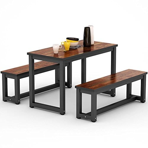 Little Tree Dinning Table Set With Two Benches 3 Piece Rustic