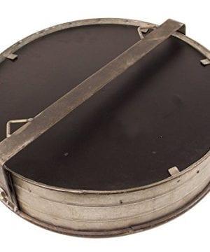 Industrial Chic Drum Mirror In Rustic Galvanized Finish 0 0 300x360