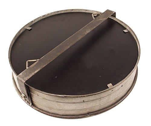 Industrial Chic Drum Mirror In Rustic Galvanized Finish 0 0
