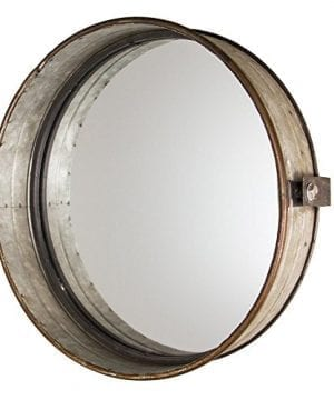 Industrial Chic Drum Mirror In Rustic Galvanized Finish 0 300x360