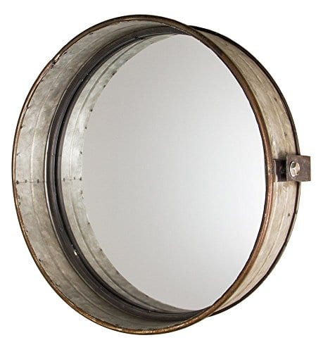 Industrial Chic Drum Mirror In Rustic Galvanized Finish 0