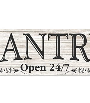 Pantry Open 247 White Rustic Wood Wall Sign 6x18 0 300x341