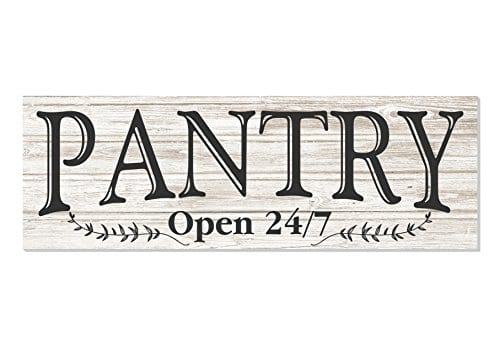 Pantry Open 247 White Rustic Wood Wall Sign 6x18 0