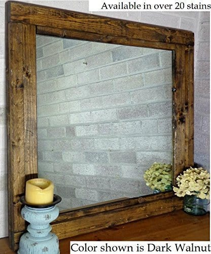 Renewed Dcor Farmhouse Mirror In 20 Stain Colors Large Wall Mirror Rustic Modern Home Home Decor Mirror Housewares Woodwork Frame Stained Mirror Available In 3 Sizes 0