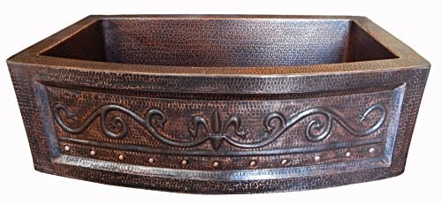 Rounded Apron Front Farmhouse Kitchen Mexican Copper Sink Fleur De Lis 0