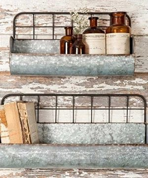 Set Of Two Decorative Wire Back Wall Shelves Industrial 0 300x360