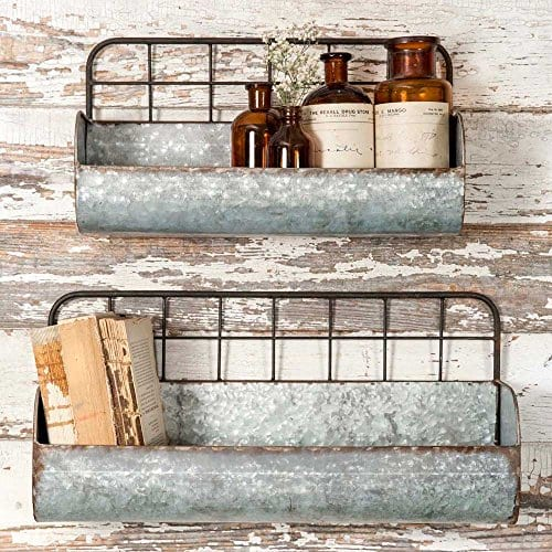 Set Of Two Decorative Wire Back Wall Shelves Industrial 0