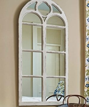 Shabby Chic Distressed White Wood Window Mirror With Arched Top 4725 High 0 300x360