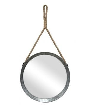 Stonebriar Rustic Round Galvanized Metal Mirror With Rope Hanging Loop Farmhouse Home Decor For Bathroom Bedroom And Living Room 0 300x360