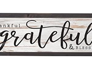 Thankful Grateful Blessed Grey White 25 X 8 Inch Solid Pine Wood Farmhouse Frame Wall Plaque 0 300x225