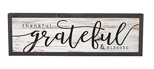 Thankful Grateful Blessed Grey White 25 X 8 Inch Solid Pine Wood Farmhouse Frame Wall Plaque 0